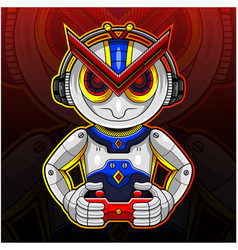 robotic gamer sport mascot logo design vector image