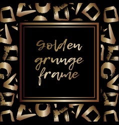 Round grunge golden frame on checkered background vector