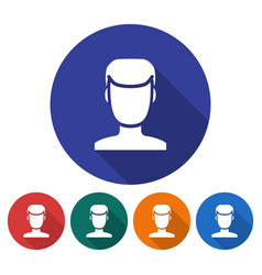 round icon of male user picture flat style with vector image