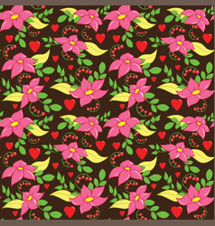 Seamless love flower pattern vector