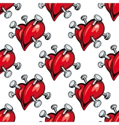 seamless pattern hearts studded with nails vector image
