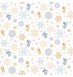 Seamless pattern with snowflakes and angels vector