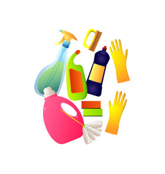set colorful different plastic home cleaning vector image