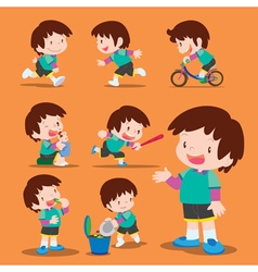 Set cute boy many actions vector