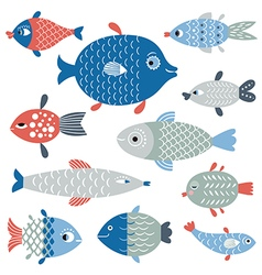 set fish art flat style vector image