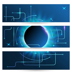 set horizontal abstract techno banners glowing vector image