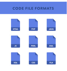 Set of code file formats and labels in flat icons vector