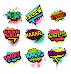 Set oops yummy colored comics book balloon vector