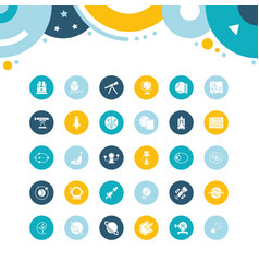 Set simple icons astronomy vector