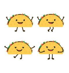 Set with cartoon tacos vector