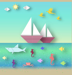 Ships and underwater life vector