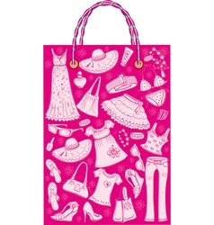 Shoping bag with woman summer clothes and accessor vector
