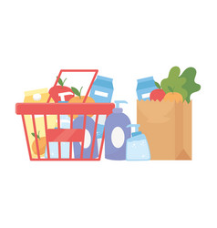 Shopping products inside bag and basket vector