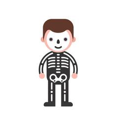 Skeleton man children in halloween costume flat vector