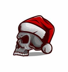 skull wearing christmas hat vector image