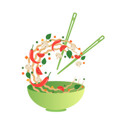 Stir fry noodles with vegetables in bowl vector