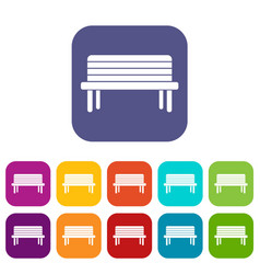 street bench icons set vector image