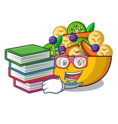 student with book dessert of fruits salad on vector image