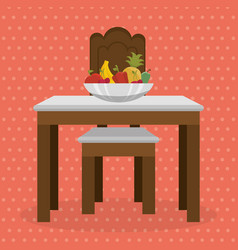 table with fruits dinning room scene vector image
