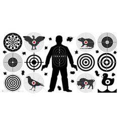 Target for shooting set man with arms shoot gun vector