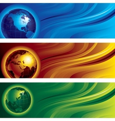 Three globes vector image