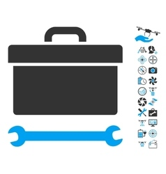 Toolbox Icon With Copter Tools Bonus vector image