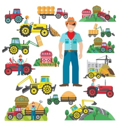 Tractor Driver Icons Set Flat vector image