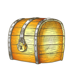Treasure chest protected metal lock color vector