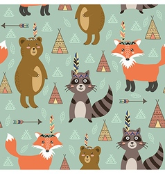 Tribal seamless pattern with cute animals vector