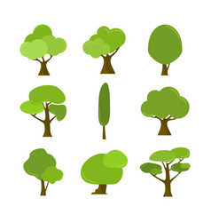 Various cartoon style isolated tree plant assets vector