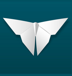 white origami butterfly on dark background vector image