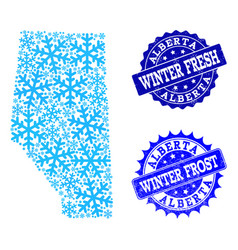 Winter map of alberta province and winter fresh vector