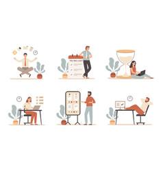 work time management scheduling tasks deadline vector image