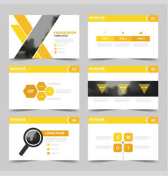 Yellow presentation templates infographic design vector