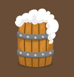 alcohol beer barrel with white foam vector image vector image