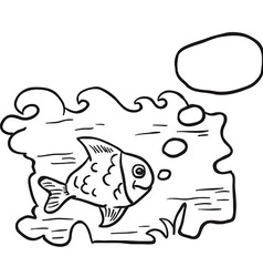 black and white fish in water vector image
