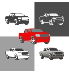 car pickup truck vehicle silhouette icons colored vector image vector image