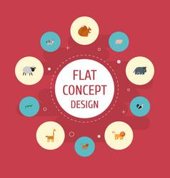 flat icons hippopotamus kine swine and other vector image