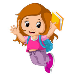school girl cartoon walking vector image