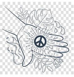 silhouette hand with the symbol of peace vector image vector image