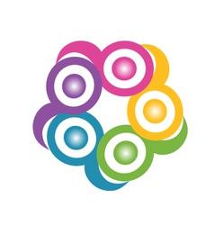 Teamwork in a hug symbolic logo vector image vector image