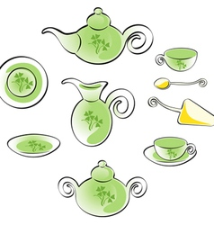 teaware set vector image