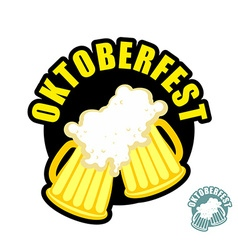 Two beer mugs clink Symbol of Oktoberfest logo vector image vector image