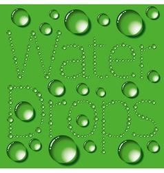 Water Drop Words On Green vector image vector image