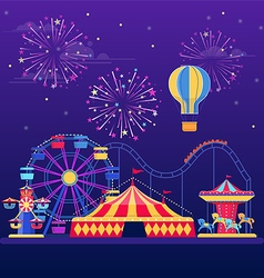 Amusement park at night vector image vector image