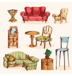 Furniture Sketch Colored vector image vector image
