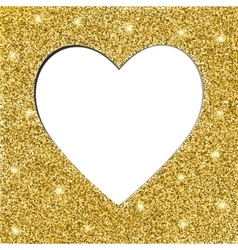 gold glitter texture and heart frame vector image vector image