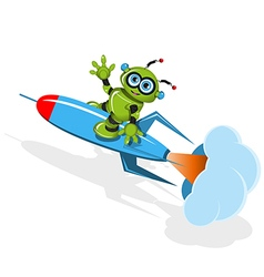 Green robot on the rocket vector image vector image