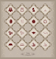icons set in vintage style vector image