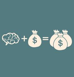 idea is money concept brain money more money vector image